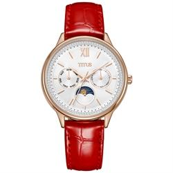 Fashionista多功能真皮不锈钢腕表 (W06-03208-004)