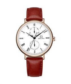 「天长地久」多功能石英皮革腕錶(W06-03199-003)