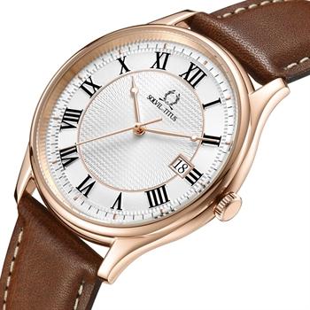 Classicist三针日期显示石英真皮腕表(W06-03193-004)