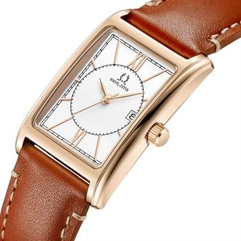 「天长地久」三针日期显示石英真皮腕表(W06-03170-006)